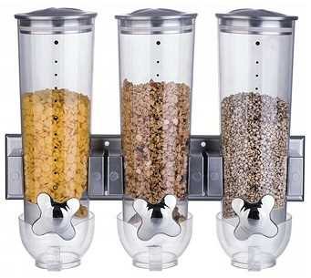 TRIPLE SILVER WALL MOUNTED CEREAL DISPENSER DRY FOOD STORAGE CONTAINER