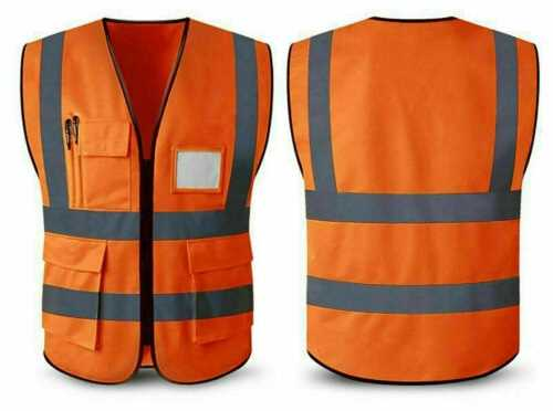 Orange Small Hi Vis Safety Vest Waistcoat High Visibility Safety Work Wear Reflective With Pockets