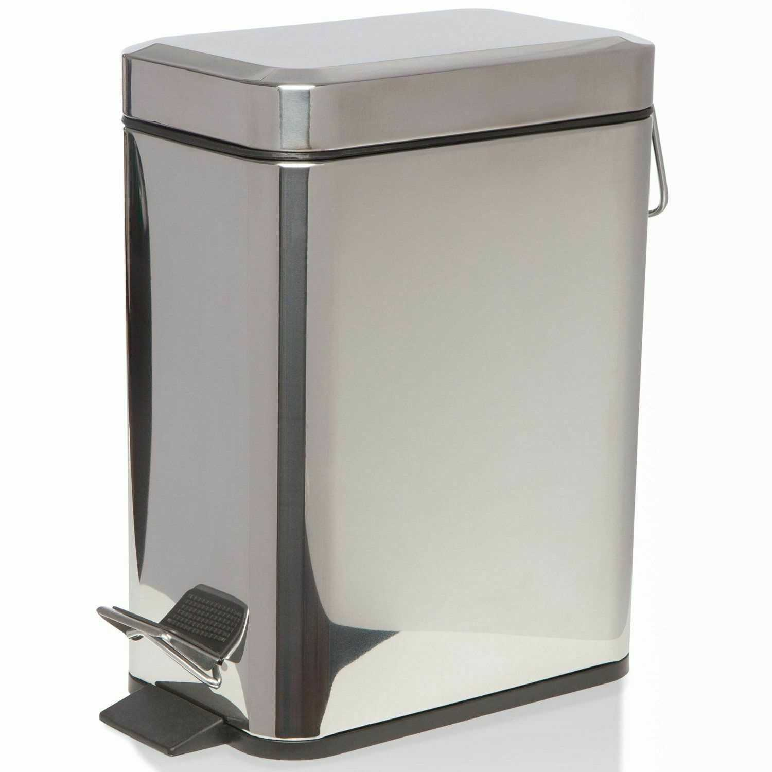 Silver 5L Square Stainless Steel Kitchen Rubbish Waste Dust Pedal Bin
