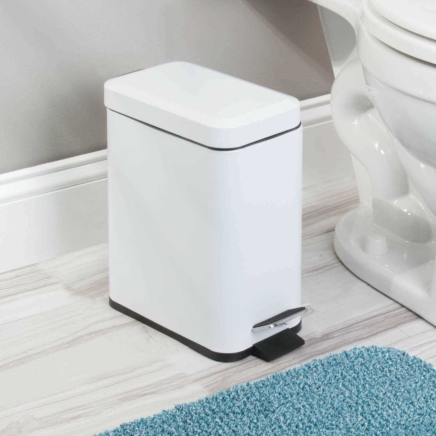 White 5L Square Stainless Steel Kitchen Rubbish Waste Dust Pedal Bin