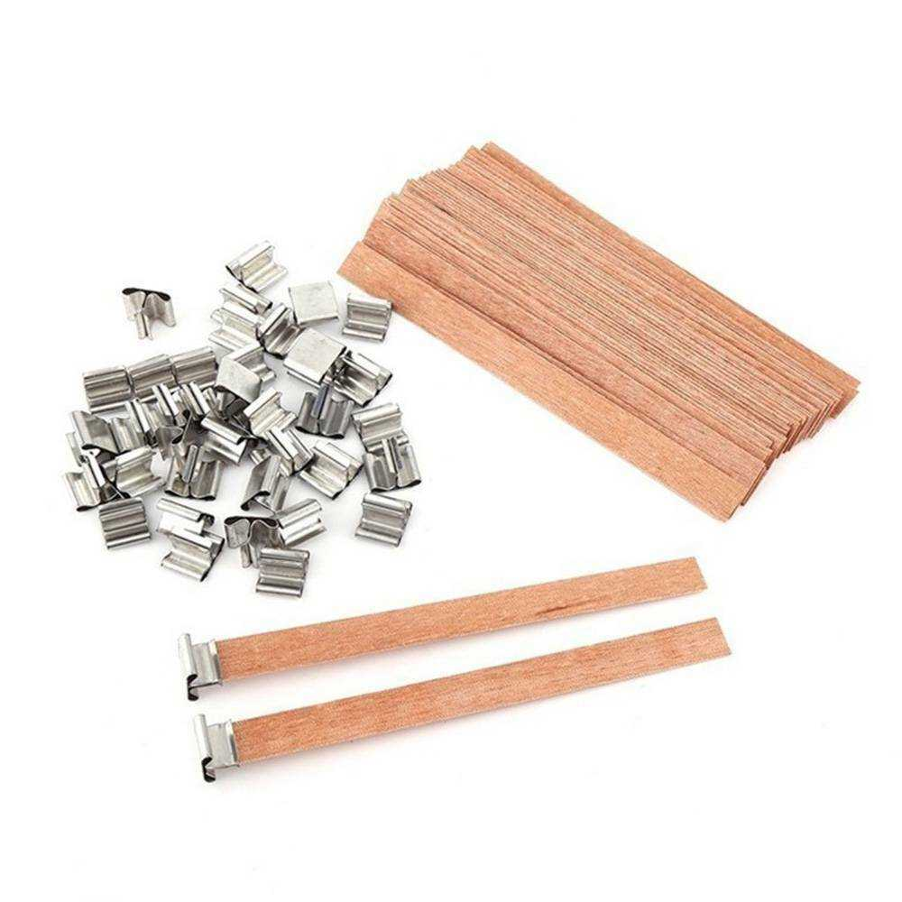 8mm x 90mm 50X Practical Wooden Candles Core Wick Candle Making Supplies With Iron Stands