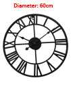 60cm Traditional Vintage Style Iron Wall Clock Roman Numerals Home Decor Gift