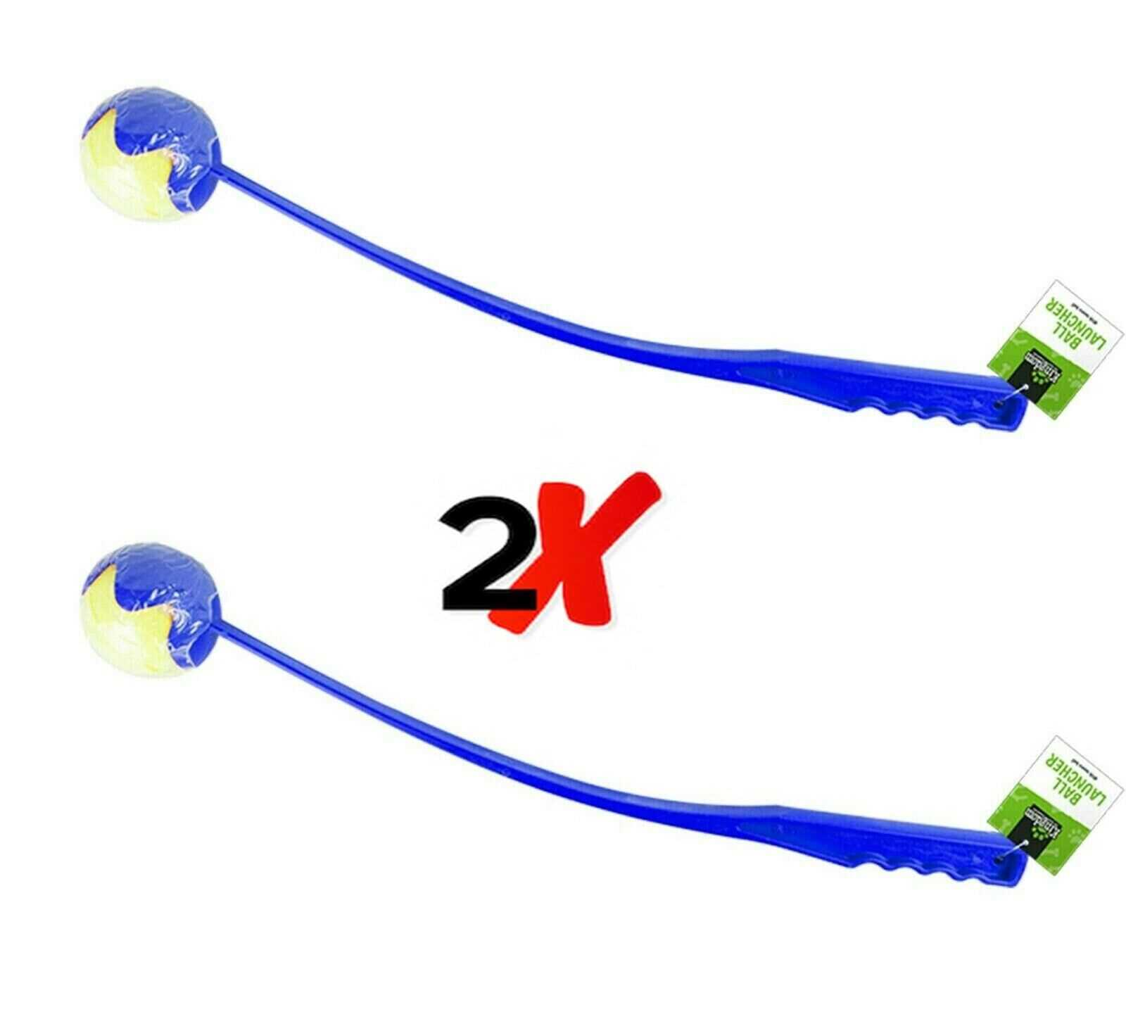 2 x Blue Ball Thrower Launcher Pet Dog Toy Fetch Tennis Game Chucker Exercise