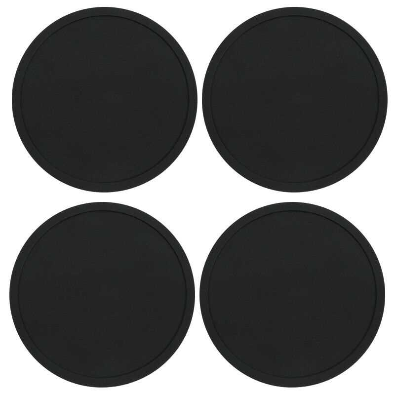 Black Premium Rubber Silicone Hot Drink Coasters Place Mat Coffee Tea Mug - 4 Pack