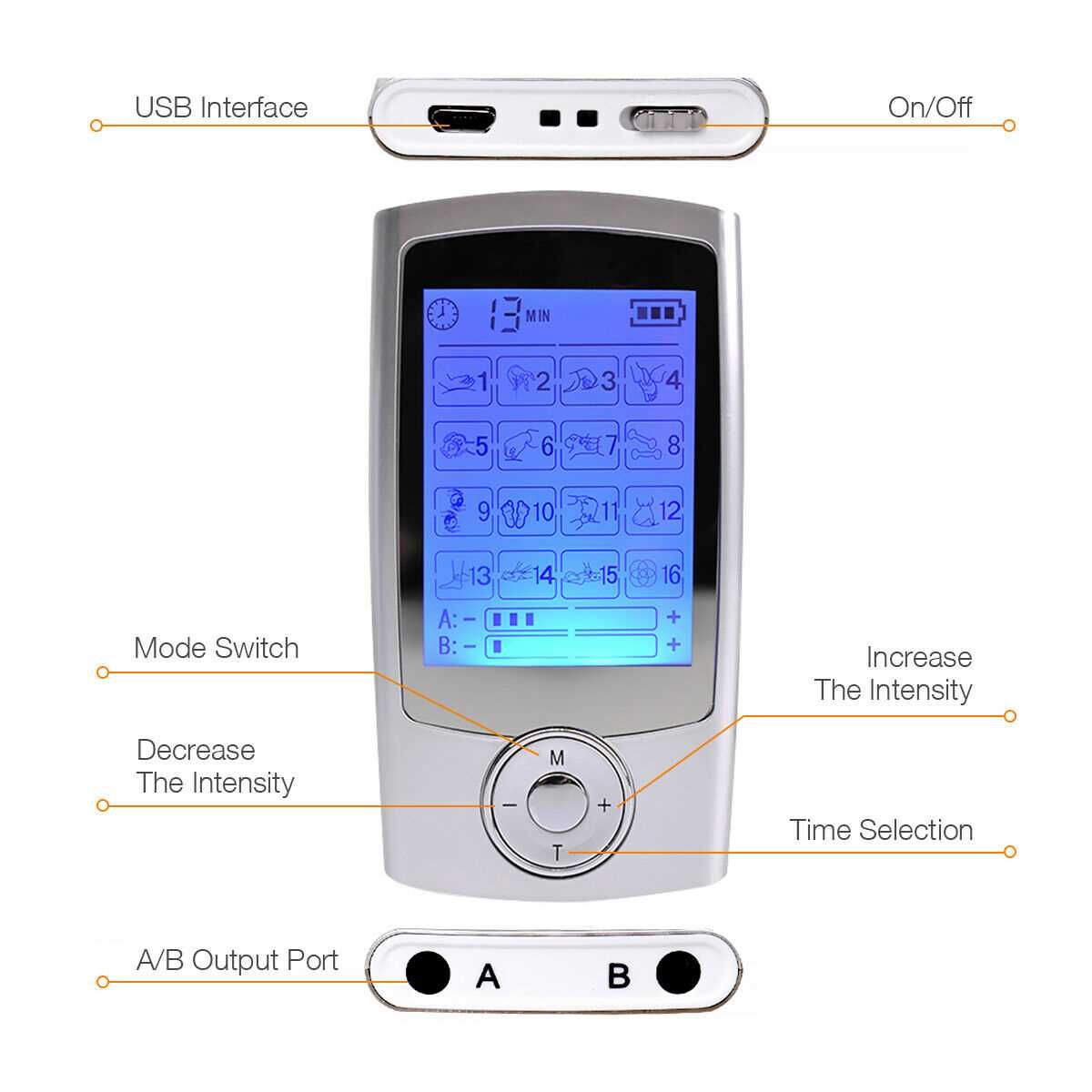 Digital Tens Therapy Machine Full Body Massager Pain Relief Acupuncture