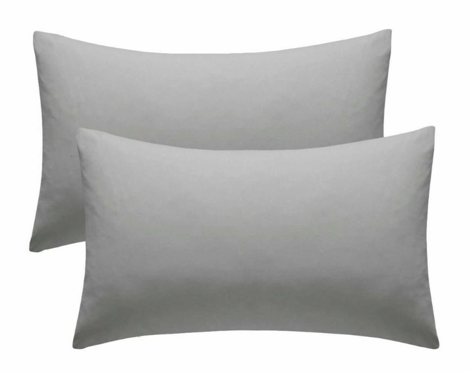 Grey Plain Pillow Cases Cotton Pair Housewife Case Cover 100% Luxury Pack Covers