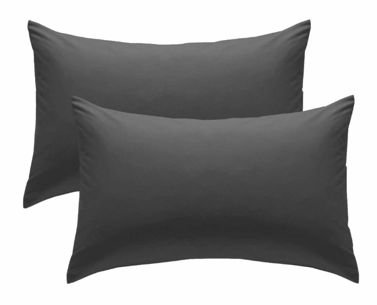 Black Plain Pillow Cases Cotton Pair Housewife Case Cover 100% Luxury Pack Covers