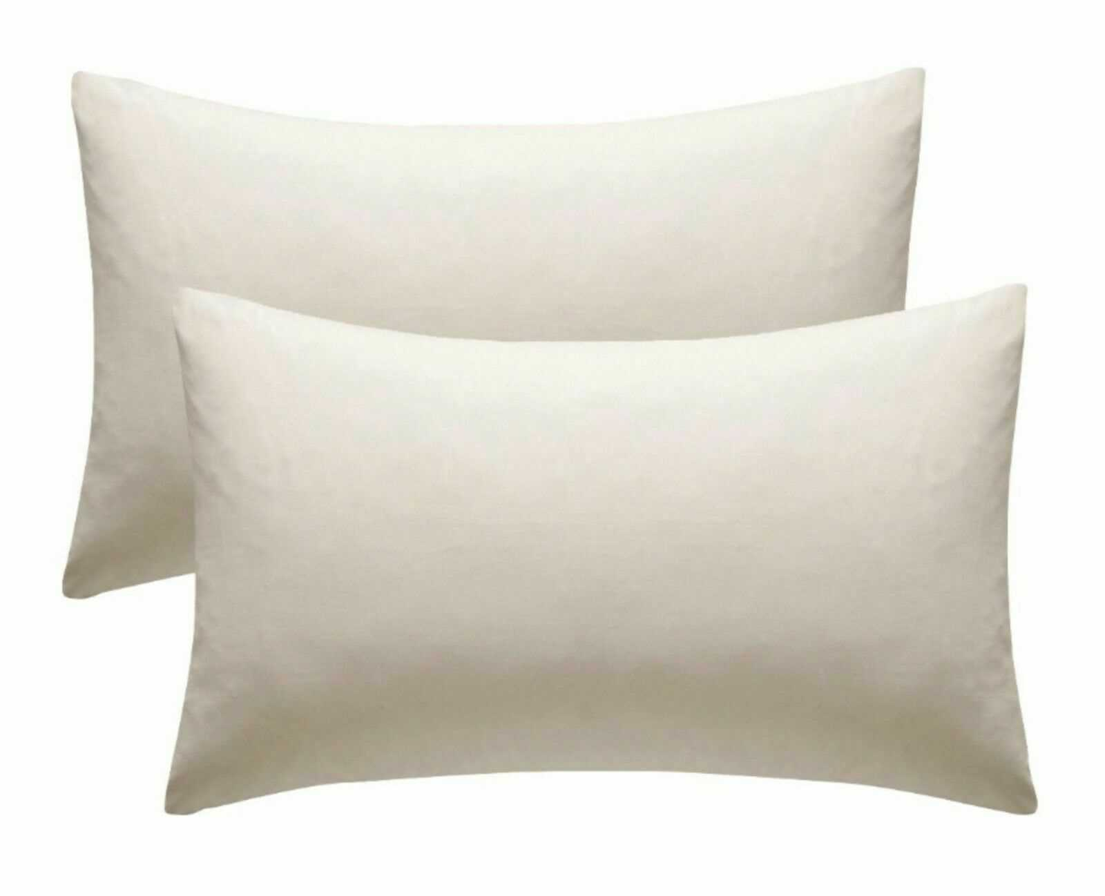 Cream Plain Pillow Cases Cotton Pair Housewife Case Cover 100% Luxury Pack Covers