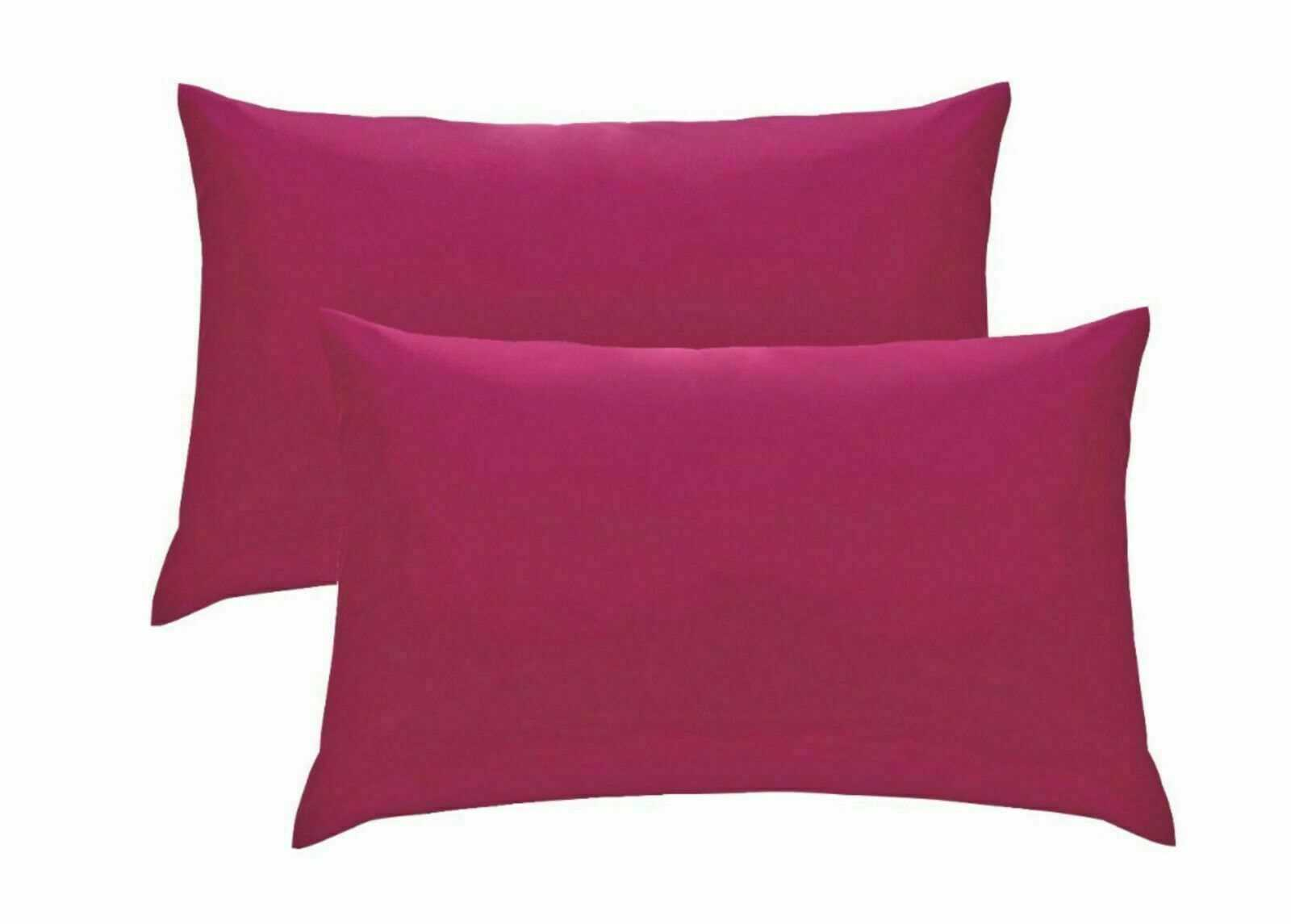 Pink Plain Pillow Cases Cotton Pair Housewife Case Cover 100% Luxury Pack Covers