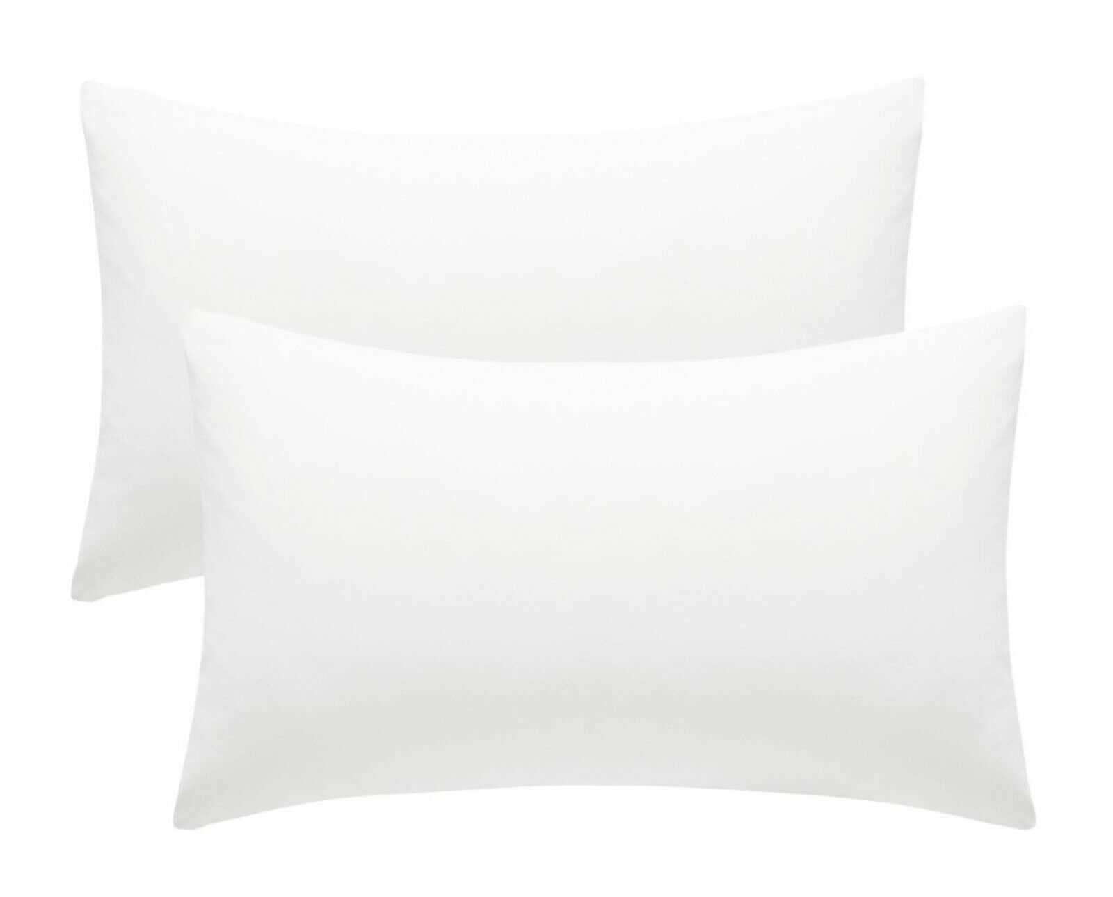 White Plain Pillow Cases Cotton Pair Housewife Case Cover 100% Luxury Pack Covers