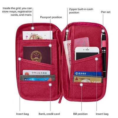 Red Travel Wallet Pouch Passport Holder RFID Organiser For Cards Documents Money IDS