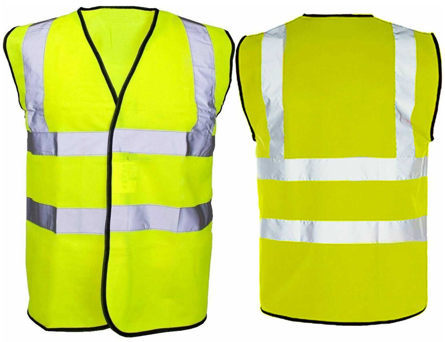 Yellow Small Hi Vis Safety Vest Waistcoat High Visibility Safety Work Wear Reflective Without Pockets
