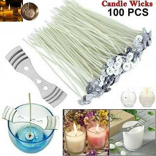 100Pcs Candle Wicks Pre Waxed With Sustainer Long Tabbed For Candle Making 150Mm